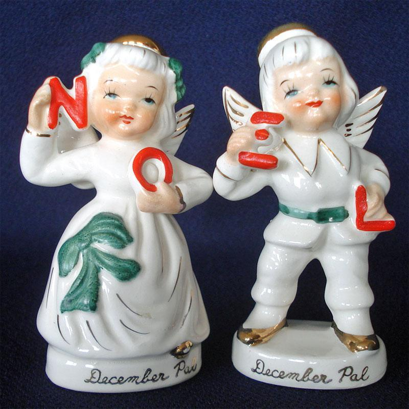 Vintage Ceramic Christmas Carolers Choir Boy And Girl: Kewpie Style Choir Boy Figurines 1950s Japan From