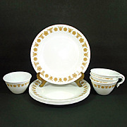 5 Corelle Butterfly Gold Lunch Plates Plus Bonus Cups