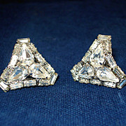 REDUCED Rhinestone Curved Triangle Shape Earrings