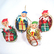 Pixie Elf in Glittered Boats Christmas Ornaments Set of 4
