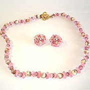 Laguna Pink Crystal and Faux Stone Necklace Earrings Set