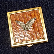 Brass Pill Box Metal Duck on Faux Alligator Skin