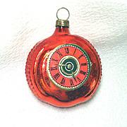 German Glass Pocket Watch Christmas Ornament Scrap Clock Face