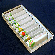 Box 1940s Painted Flowers Mirrored Glass Place Cards