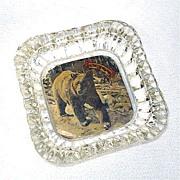 Yellowstone Souvenir Glass Ashtray With Bear Photo
