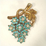 SALE Blue Rhinestone Flower Cluster Brooch