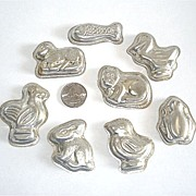 Set 8 West German Tin Chocolate Molds Animals