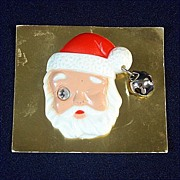 Plastic Winking Eye Santa Claus Christmas Pin or Brooch