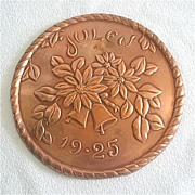1925 Swedish Embossed Copper Julen Christmas Plaque