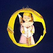 REDUCED 1960s Angel in 3-D Flocked Christmas Ball Ornament