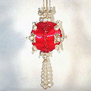 REDUCED Fancy Faux Pearls on Red Beaded Jeweled Christmas Ornament