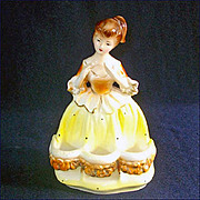 Commodore Lipstick Lady Figural Ceramic Vanity Lipstick Holder