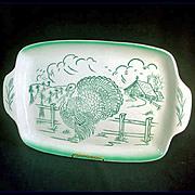 Bell of California 1950s Pottery Turkey Farm Scene Platter