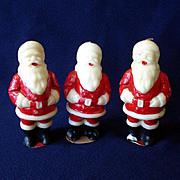4 Blue Gold Czech Japan Beaded Glass Christmas Ornaments