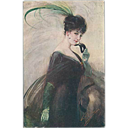 """""""Woman with black Mask and green Feather""""  (1914)"""