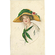 """""""Woman in Straw Hat with green Ribbon""""  (1914)"""