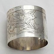 SALE Antique Art Nouveau French Sterling Silver (950) Napkin Ring, 31.15 gr., No Monogram!