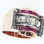 SALE French Art Deco / Retro 18K Gold Ruby Diamond Ring, Impressive and Heavy (15.93 ...