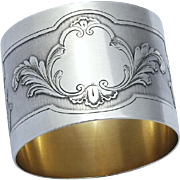 Antique Art Nouveau French Sterling Silver (950) and Gold Napkin Ring, 49gr!