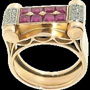 French Art Deco / Retro 18K Gold Ruby Diamond Ring, Very Unique & Elegant!