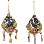 Antique Victorian 14K Multi-Color Gold Silver Turquoise Pearls Hand Made 3D Bird Earrings