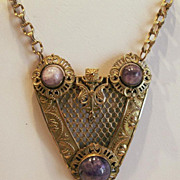 REDUCED Antique Victorian Arts & Crafts Pinchbeck Amethyst Rare Necklace
