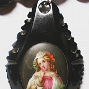 Rare! Victorian C.1860 Black Jet Necklace Miniature Hand Painted Enamel Porcelain