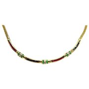 14 Karat Yellow Gold Emerald, Ruby, Sapphire and Diamond Necklace