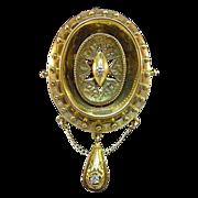 14 Karat Yellow Gold and Diamond Pin/Pendant