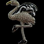 SALE Vintage  Black and White Flamingo Enamel Rhinestone Art Deco Fur Clip BOOK PIECE