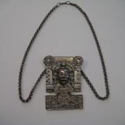 """Vintage Hobe Mexico """"Rare"""" Aztec Metal Necklace Big and Shinny"""