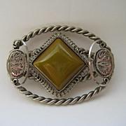 Vintage Egyptian Art Deco Revival Huge Glass Pin Brooch