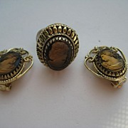 Vintage Whiting and Davis Glass Cameo Ring Earrings Set