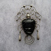 Vintage Mexico Taxco Black Onyx Sterling Silver Mask Brooch Pin