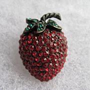 SALE Vintage Weiss Strawberry Fruit  Rhinestone Brooch Pin