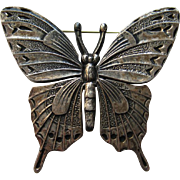 Vintage Mexico Taxco Mexican FABARO signed Silver Butterfly Realistic  Pin Brooch