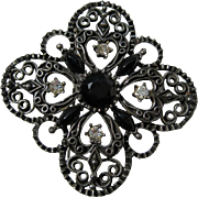 Vintage Florenza LARGE Jet Black Signed Rhinestone Brooch Pin