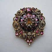 "Vintage Eisenberg Dress Fur Clip ""BIG"" Rhinestone Purple Pink  Pin Brooch"