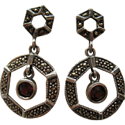 Vintage Garnet Marcasite Art Deco Style Sterling Silver Dangle Pierced Earrings