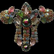 SALE Vintage Juliana D&E Pastel Dangler Trembler AWESOME Demi Brooch Pin Earrings Set