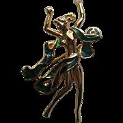 "SALE Vintage Grosse Germany Realistic Nude Figural Enamel ""Big' Gold Tone Brooch Pin"
