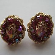 SALE Vintage Hobe Glass Red Pink Gold Tone Metal Earrings