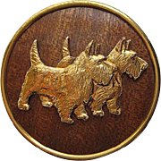 Vintage Double Scotty Figural Realistic Dog Gold Tone Wood Brooch Pin