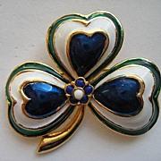 Vintage Signed 3 Leaf Clover Enamel Sphinx England Rhinestone Brooch Pin