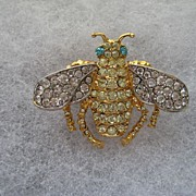Vintage KJL Kenneth J. Lane Rhinestone Moth Bug Fly Beetle Figural Realistic Brooch Pin