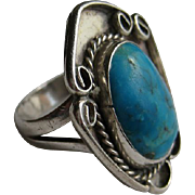 SALE Vintage Navajo Native American Silver Turquoise Filigree Ring