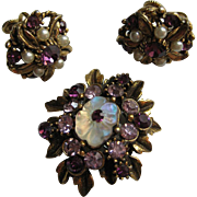 Vintage Florenza Signed Floral Purple Flower Demi Set Brooch pin Earrings
