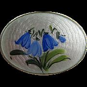 Vintage Arnie Nordlie Norway Blue Bell Flower Sterling Silver Enamel Guilloche Pin Brooch