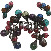 "SALE Vintage Napier Lucite "" Pastel"" Chunky Bracelet Earrings 1950's"