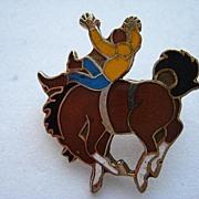 SALE Vintage Cowboy Bronco Enamel Bucking Horse Pin Brooch